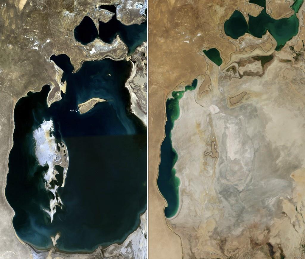 Aral Denizi'nin 1989 (solda) ve 2014 (sağda) karşılaştırması. Fotoğraf: NASA. Producercunningham tarafından kolaj