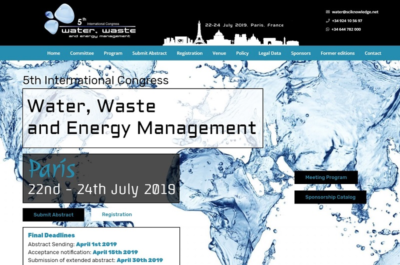 5th International Congress on Water, Waste and Energy Management (WWEM-19)