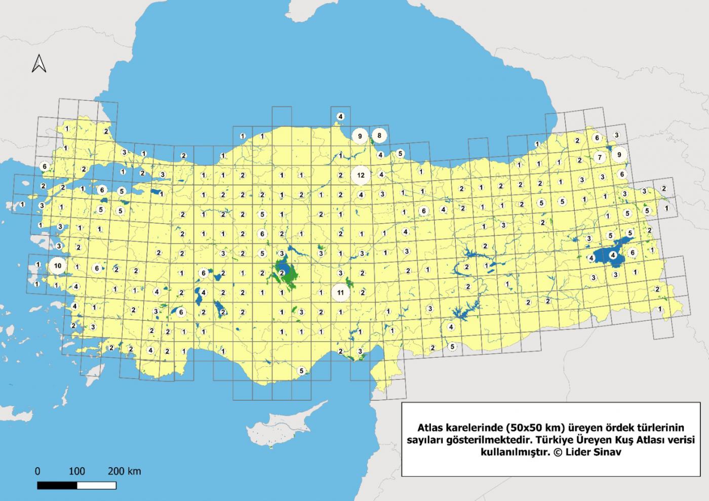 Türkiye'de Üreyen Ördek Türlerinin Dağılımı