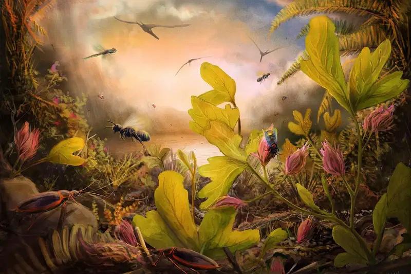 Kretase döneminde 113 milyon yıl önce Brezilya'da açan çiçeklerin canlandırması. C: Mark P. Witton