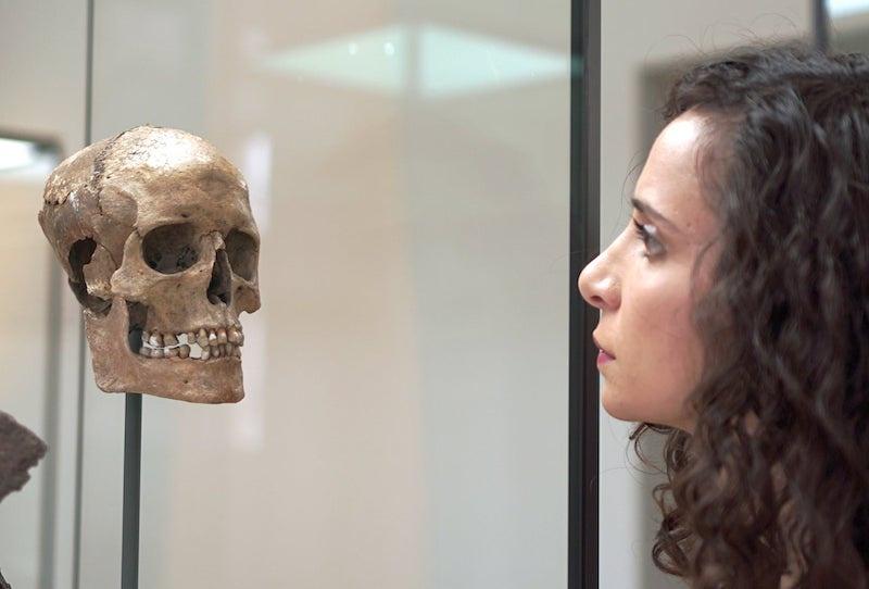 Ella Al-Shamahi, Viking kadının canlandırılan suratı ile yüz yüze geliyor. C: Eloisa Noble/National Geographic